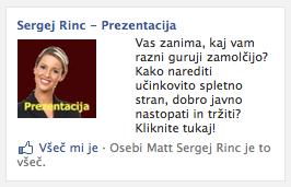 Facebook oglaševanje za Facebook stran